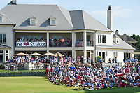 Avid golf fans gathered near the green on 18 showing their support for the golf professionals and St. Jude Hospitals during round 4 of the WGC FedEx St. Jude Invitational, TPC Southwind, Memphis, Tennessee, USA. 7/28/2019.<br /> Picture Ken Murray / Golffile.ie<br /> <br /> All photo usage must carry mandatory copyright credit (© Golffile | Ken Murray)