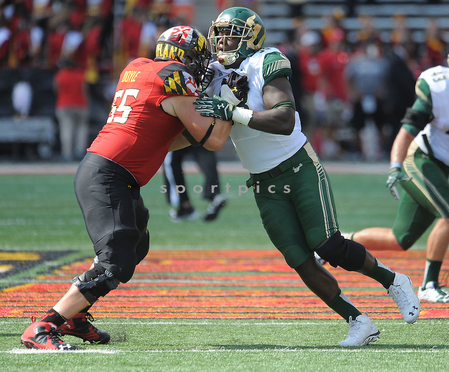 South Florida Bulls Mike Love (98) during a game against the Maryland Terrapins on September 19, 2015 at Byrd Stadium in College Park, MD. Maryland beat South Florida 35-17.