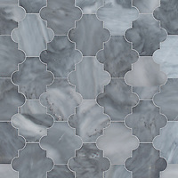 Andre, a waterjet cut stone mosaic, shown in polished Greystoke, is part of the Semplice® collection for New Ravenna.