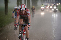 Kris Boeckmans (BEL/Lotto-Soudal) fighting his way back to the peloton in a rain storm<br /> <br /> stage 3: Buchten - Buchten (NLD/210km)<br /> 30th Ster ZLM Toer 2016