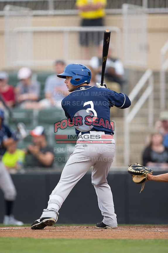 Max George (3) of the Asheville Tourists at bat against the Kannapolis Intimidators at Intimidators Stadium on May 28, 2016 in Kannapolis, North Carolina.  The Intimidators defeated the Tourists 5-4 in 10 innings.  (Brian Westerholt/Four Seam Images)
