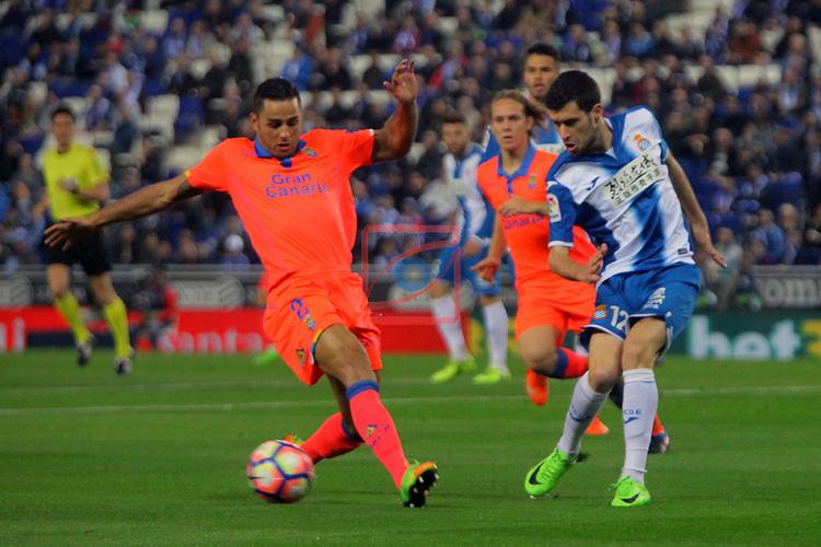 League Santander 2016/2017. Game: 27.<br /> RCD Espanyol vs UD Las Palmas: 4-3.<br /> David Simon vs Aaron.
