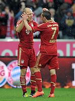 FUSSBALL   1. BUNDESLIGA  SAISON 2011/2012   27. Spieltag FC Bayern Muenchen - Hannover 96       24.03.2012 Jubel nach dem Tor zum 1:0, Arjen Robben (li,) mit Franck Ribery (FC Bayern Muenchen)