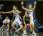 SIOUX FALLS, SD - MARCH 19: Gabrielle Reuter #31 and Kelly Martin #12 from Stonehill apply pressure to Halle Denman #23 from Indiana (PA) during their quarterfinal game at the 2018 Elite Eight Women's NCAA DII Basketball Championship at the Sanford Pentagon in Sioux Falls, SD. (Photo by Dave Eggen/Inertia)