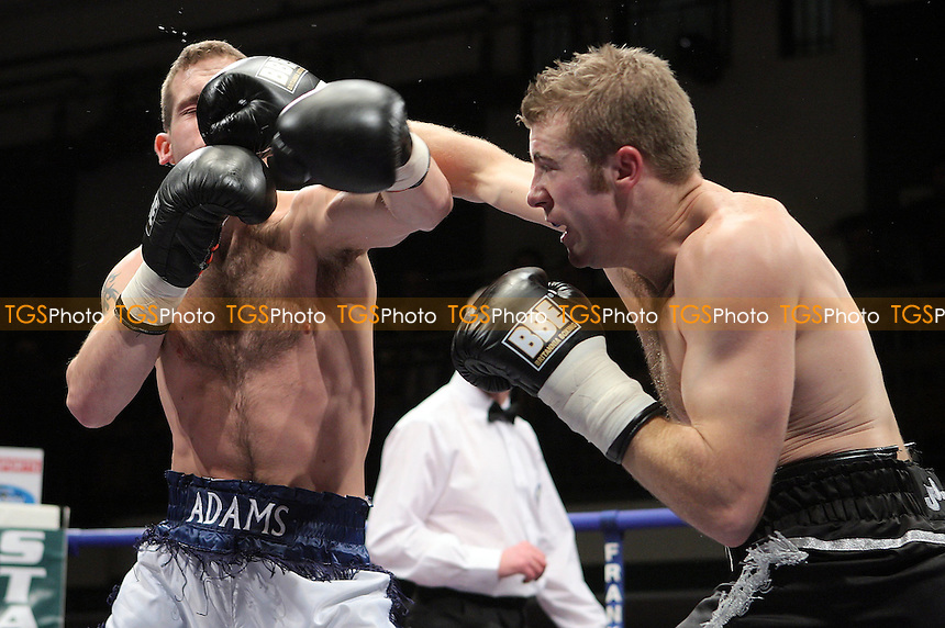 Scott Woolford (Ramsgate, black shorts) defeats Terry Adams (Birmingham, light blue shorts) in a Light-Middleweight contest at York Hall, Bethnal Green, promoted by Frank Maloney (FTM Sports) - 01/02/08 - MANDATORY CREDIT: Gavin Ellis/TGSPHOTO. Self-Billing applies where appropriate. NO UNPAID USE. Tel: 0845 094 6026
