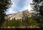 Royal Arches, North Dome and Washington Column from North Pines in March, Yosemite National Park