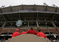 Family members Mark Schrote of Baltimore, David Schrote of Marion, Oh., Tom Schrote of Williamston, Mi., and Jacob Schrote of Columbus, Oh., wait outside M&T Bank Stadium before Saturday's NCAA Division I football game between the Ohio State Buckeyes and the Navy Midshipmen in Baltimore on August 30, 2014. (Dispatch Photo by Barbara J. Perenic)