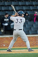 Nick Collins (33) of the Georgetown Hoyas at bat against the Wake Forest Demon Deacons at Wake Forest Baseball Park on February 16, 2014 in Winston-Salem, North Carolina.  The Demon Deacons defeated the Hoyas 3-2.  (Brian Westerholt/Four Seam Images)