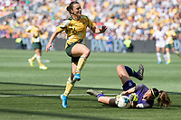 9th November 2019; Bankwest Stadium, Parramatta, New South Wales, Australia; International Womens Friendly Football, Australia versus Chile; Christiane Endler of Chile collects the through ball as Hayley Raso of Australia runs in - Editorial Use