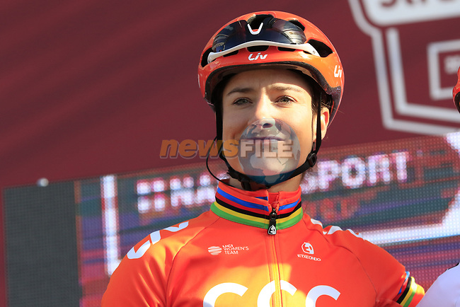 Marianne Vos (NED) CCC-Liv at sign on before the Strade Bianche Women Elite 2019 running 133km from Siena to Siena, held over the white gravel roads of Tuscany, Italy. 9th March 2019.<br /> Picture: Eoin Clarke | Cyclefile<br /> <br /> <br /> All photos usage must carry mandatory copyright credit (© Cyclefile | Eoin Clarke)
