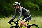 Race leader Adam Yates (GBR) Mitchelton-Scott stays dry during Stage 6 of the Criterium du Dauphine 2019, running 229km from Saint-Vulbas - Plaine de l'Ain to Saint-Michel-de-Maurienne, France. 14th June 2019.<br /> Picture: ASO/Alex Broadway | Cyclefile<br /> All photos usage must carry mandatory copyright credit (© Cyclefile | ASO/Alex Broadway)