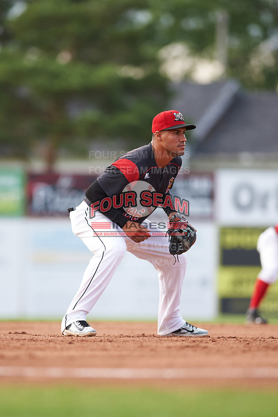 Batavia Muckdogs third baseman Rony Cabrera (26) during a game against the Auburn Doubledays on June 19, 2017 at Dwyer Stadium in Batavia, New York.  Batavia defeated Auburn 8-2 in both teams opening game of the season.  (Mike Janes/Four Seam Images)