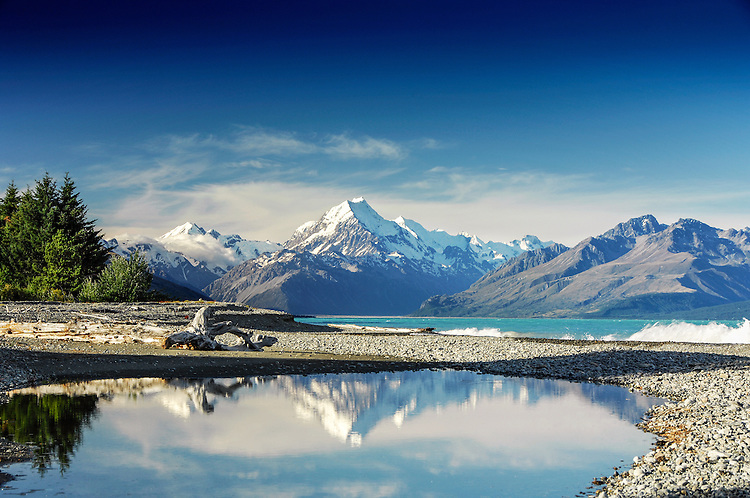 Afternoon Mount Cook / Aoraki in Lake Pukaki, McKenzie Country, South Island New Zealand - stock photo, canvas, fine art print