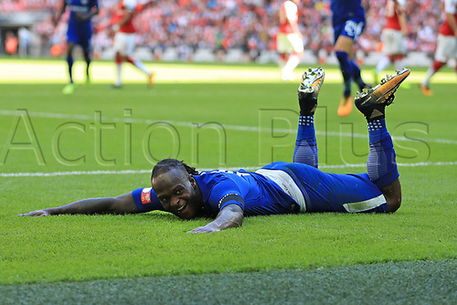 August 6th 2017, Wembley Stadium, London, England; FA Community Shield Final, Arsenal versus Chelsea; Victor Moses of Chelsea celebrates after scoring as he makes it 0-1
