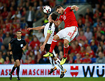 Sam Vokes of Wales challenges Julian Baumgartlinger of Austria during the World Cup Qualifying Group D match at the Cardiff City Stadium, Cardiff. Picture date 2nd September 2017. Picture credit should read: Simon Bellis/Sportimage