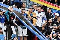 BOGOTA - COLOMBIA -06 -08-2017: Hinchas de Millonarios animan a su equipo durante el encuentro entre Millonarios y Atletico Junior por la fecha 6 de la Liga Aguila II 2017 jugado en el estadio Nemesio Camacho El Campin de la ciudad de Bogota. / Fans of Millonarios cheer for their team during match between Millonarios and Atletico Junior for the date 6 of the Liga Aguila II 2017 played at the Nemesio Camacho El Campin Stadium in Bogota city. Photo: VizzorImage / Gabriel Aponte / Staff.