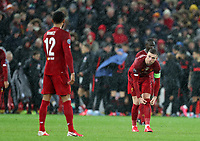 11th March 2020; Anfield, Liverpool, Merseyside, England; UEFA Champions League, Liverpool versus Atletico Madrid;  Jordan Henderson of Liverpool speaks with team mate Joe Gomez of Liverpool as heavy rain falls during extra time