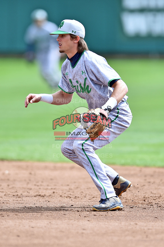 Notre Dame Fighting Irish second baseman Cavan Biggio (23) during a game against the Clemson Tigers during game one of a double headers at Doug Kingsmore Stadium March 14, 2015 in Clemson, South Carolina. The Tigers defeated the Fighting Irish 6-1. (Tony Farlow/Four Seam Images)