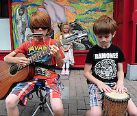 Buskers Milo, Ollie and Ciara McCarthy from Midleton, Cork pictured taking part in the Celtic Music Festival busking competition in Cahersiveen, County Kerry at the weekend.<br /> Picture by Don MacMonagle