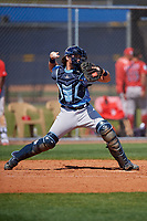 Tampa Bay Rays catcher Dawson Dimon (63) throws to second base during a Minor League Spring Training game against the Boston Red Sox on March 25, 2019 at the Charlotte County Sports Complex in Port Charlotte, Florida.  (Mike Janes/Four Seam Images)