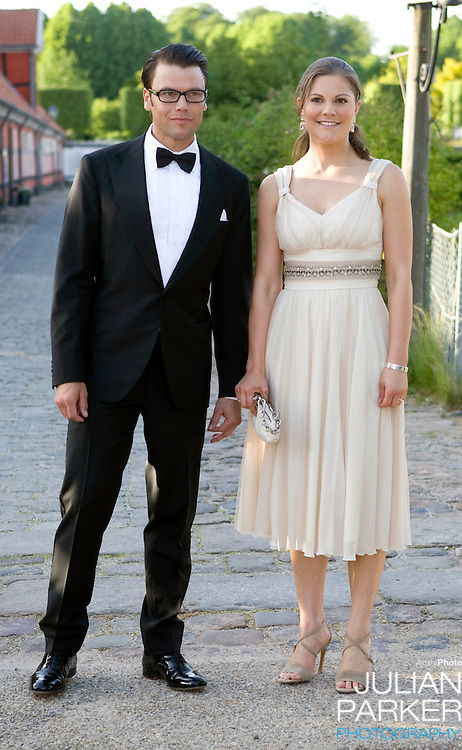 Crown Princess Victoria of Sweden, and boyfriend Daniel Westling arrive for a Dinner Party at Fredensborg Palace, in Denmark, to celebrate Crown Prince Frederiks 40th Birthday. Crown Prince Frederik turned 40 on May 26th