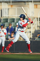 Simon Muzziotti (12) of the Lakewood BlueClaws at bat against the Kannapolis Intimidators at Kannapolis Intimidators Stadium on April 5, 2018 in Kannapolis, North Carolina.  The Intimidators defeated the BlueClaws 4-3.  (Brian Westerholt/Four Seam Images)