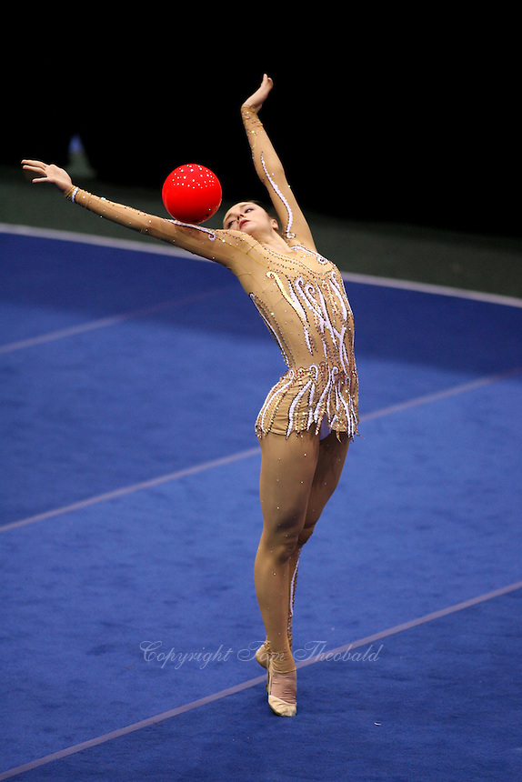 Anna Bessonova of Ukraine (shot from balcony above), moment with ball at San Francisco Invitational on February 11, 2006. Bessonova won All-Around competition. (Photo by Tom Theobald)