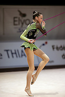 Dominika Cervenkova of Czech Republic handles rope during All-Around competition at 2006 Thiais Grand Prix in Paris, France on March 25, 2006.  (Photo by Tom Theobald)