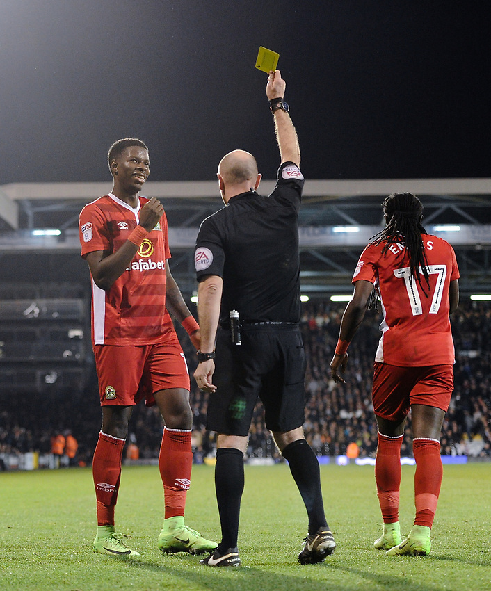 Blackburn Rovers' Lucas Joao is shown a yellow card by Andy Davies for over celebrating his late equaliser<br /> <br /> Photographer /Ashley WesternCameraSport<br /> <br /> The EFL Sky Bet Championship - Fulham v Blackburn Rovers - Tuesday 14th March 2017 - Craven Cottage - London<br /> <br /> World Copyright &copy; 2017 CameraSport. All rights reserved. 43 Linden Ave. Countesthorpe. Leicester. England. LE8 5PG - Tel: +44 (0) 116 277 4147 - admin@camerasport.com - www.camerasport.com