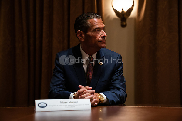 Marc Kovar, Sergeant-at-Arms, National Association of Police Organizations, speaks during a meeting between President Donald Trump and members of the National Association of Police Organizations Leadership in the Cabinet Room of the White House in Washington, DC, on July 31st, 2020.<br /> Credit: Anna Moneymaker / Pool via CNP /MediaPunch