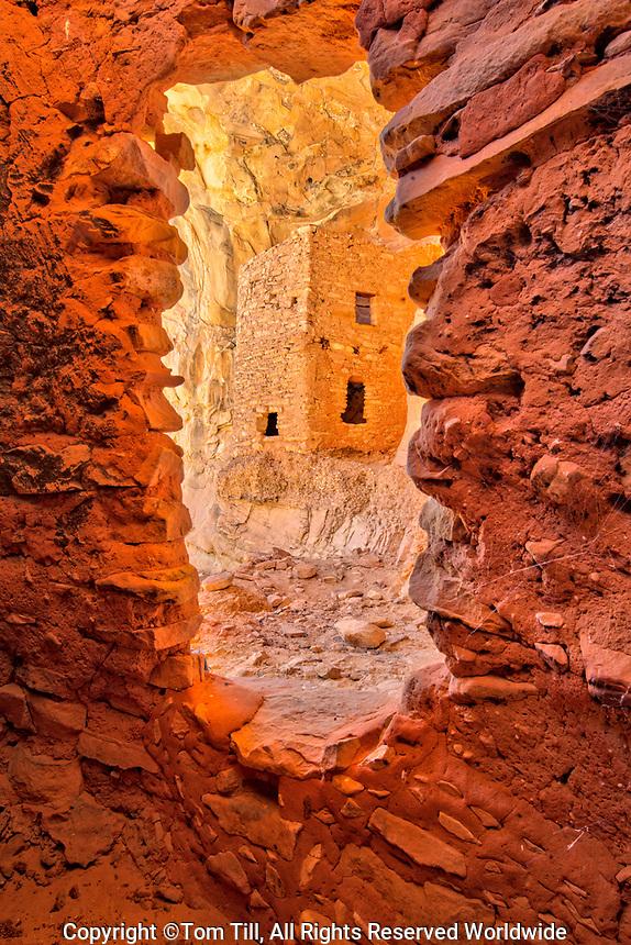 Ruin framed by door,  Bears Ears National Monument, Utah, Ancient Native American dwelling