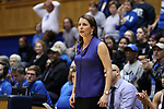 DURHAM, NC - FEBRUARY 01: Duke head coach Joanne P. McCallie. The Duke University Blue Devils hosted the Georgia Tech University Yellow Jackets on February 1, 2018 at Cameron Indoor Stadium in Durham, NC in a Division I women's college basketball game. Duke won the game 77-59.