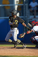 Victor Ngoepe (5) of the Bristol Pirates follows through on his swing against the Danville Braves at American Legion Post 325 Field on July 1, 2018 in Danville, Virginia. The Braves defeated the Pirates 3-2 in 10 innings. (Brian Westerholt/Four Seam Images)