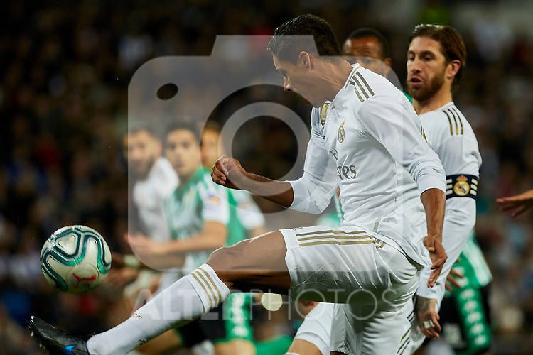 Raphael Varane of Real Madrid during La Liga match between Real Madrid and Real Betis Balompie at Santiago Bernabeu Stadium in Madrid, Spain. November 02, 2019. (ALTERPHOTOS/A. Perez Meca)