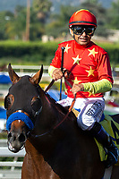 ARCADIA, CA  JUNE 23: Mike Smith is all smiles after riding #4 American Anthem to a thrilling victory in the San Carlos Stakes on June 23, 2018, at Santa Anita Park in Arcadia, CA.  (Photo by Casey Phillips/Eclipse Sportswire/Getty Images)