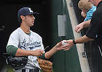 Infielder Jiovanni Mier (3), of the Lexington Legends, Houston's No. 1 pick in the 2009 draft, signs an autograph prior to a game against the Greenville Drive April 25, 2010, at Fluor Field at the West End in Greenville, S.C. Photo by: Tom Priddy/Four Seam Images
