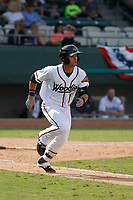 Down East Wood Ducks shortstop Arturo Lara (18) at bat during a game against the Salem Red Sox at Grainger Stadium on April 16, 2017 in Kinston, North Carolina. Salem defeated Down East 9-2. (Robert Gurganus/Four Seam Images)