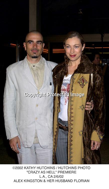 "©2002 KATHY HUTCHINS / HUTCHINS PHOTO.""CRAZY AS HELL"" PREMIERE.L.A., CA 2/6/02.ALEX KINGSTON & HER HUSBAND FLORIAN."