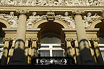 Close up of ornate classical building facade in Corn Street, Bristol