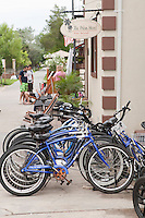 Bicycle for sale are lined up by a store in Ocean Beach on Fire Island in New York state, Wednesday August 3, 2011. The incorporated villages of Ocean Beach and Saltaire within Fire Island National Seashore are car-free during the summer tourist season and permit only pedestrian and bicycle traffic.