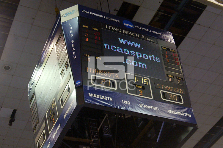 18 December 2004: The final scoreboard during Stanford's  30-23, 30-27, 30-21 victory over Minnesota in the 2004 NCAA Women's Volleyball National Championships in Long Beach, CA. Stanford won their sixth women's volleyball title in school history.