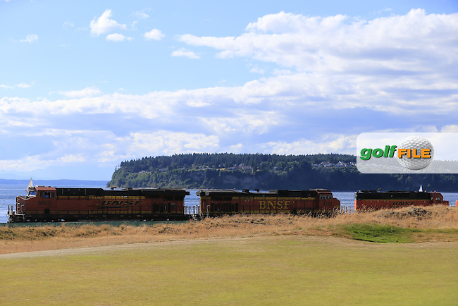 Freight train passes by the 17th hole during Friday's Round 2 of the 2015 U.S. Open 115th National Championship held at Chambers Bay, Seattle, Washington, USA. 6/20/2015.<br /> Picture: Golffile | Eoin Clarke<br /> <br /> <br /> <br /> <br /> All photo usage must carry mandatory copyright credit (&copy; Golffile | Eoin Clarke)