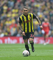 Watford's Roberto Pereyra<br /> <br /> Photographer Rob Newell/CameraSport<br /> <br /> Emirates FA Cup Semi-Final  - Watford v Wolverhampton Wanderers - Sunday 7th April 2019 - Wembley Stadium - London<br />  <br /> World Copyright © 2019 CameraSport. All rights reserved. 43 Linden Ave. Countesthorpe. Leicester. England. LE8 5PG - Tel: +44 (0) 116 277 4147 - admin@camerasport.com - www.camerasport.com