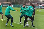 17.01.2020, Trainingsgelaende am wohninvest WESERSTADION,, Bremen, GER, 1.FBL, Werder Bremen Training ,<br /> <br /> <br />  im Bild<br /> <br /> Stefanos Kapino (Werder Bremen #27)<br /> Marco Friedl (Werder Bremen #32)<br /> Sebastian Langkamp (Werder Bremen #15)<br /> <br /> Foto © nordphoto / Kokenge