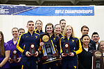 COLUMBUS, OH - MARCH 11: West Virginia University stands with the national championship trophy during the Division I Rifle Championships held at The French Field House on the Ohio State University campus on March 11, 2017 in Columbus, Ohio. (Photo by Jay LaPrete/NCAA Photos via Getty Images)