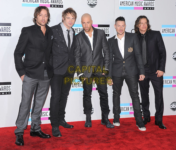 Daughtry.2011 American Music Awards - Arrivals held at Nokia Theatre LA Live, Los Angeles, California, USA..November 20th, 2011.ama amas ama's full length black suit grey gray white shirt band group chris.CAP/RKE/DVS.©DVS/RockinExposures/Capital Pictures.