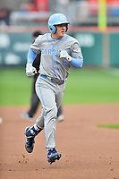North Carolina Tar Heels shortstop Ike Freeman (8) rounds the bases after hitting a home run during a game against the Clemson Tigers at Doug Kingsmore Stadium on March 9, 2019 in Clemson, South Carolina. The Tigers defeated the Tar Heels 3-2 in game one of a double header. (Tony Farlow/Four Seam Images)