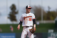 Oregon State Beavers third baseman Jake Dukart (15) during a game against the New Mexico Lobos on February 15, 2019 at Surprise Stadium in Surprise, Arizona. Oregon State defeated New Mexico 6-5. (Zachary Lucy/Four Seam Images)