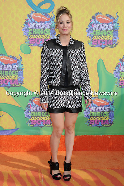Pictured: Kaley Cuoco<br /> Mandatory Credit &copy; Gilbert Flores/Broadimage<br /> Nickelodeon Kids' Choice Awards 2014<br /> <br /> 3/29/14, Los Angeles, California, United States of America<br /> <br /> Broadimage Newswire<br /> Los Angeles 1+  (310) 301-1027<br /> New York      1+  (646) 827-9134<br /> sales@broadimage.com<br /> http://www.broadimage.com