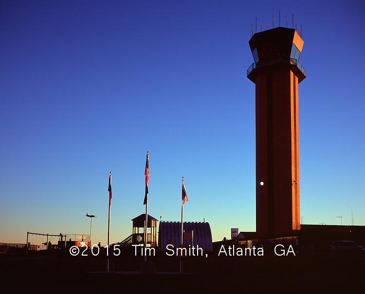 The Air Traffic Control tower at sunset, near the runways at PDK airport, north of Atlanta.
